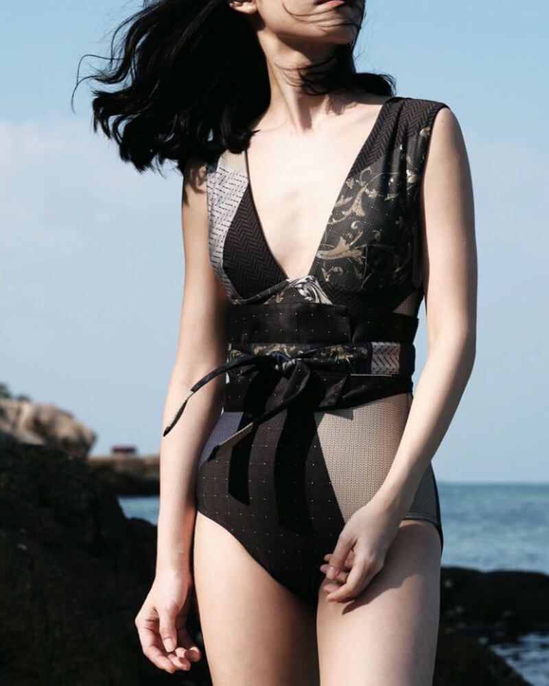 Geometry V-neck Print One-Piece Swimsuit
