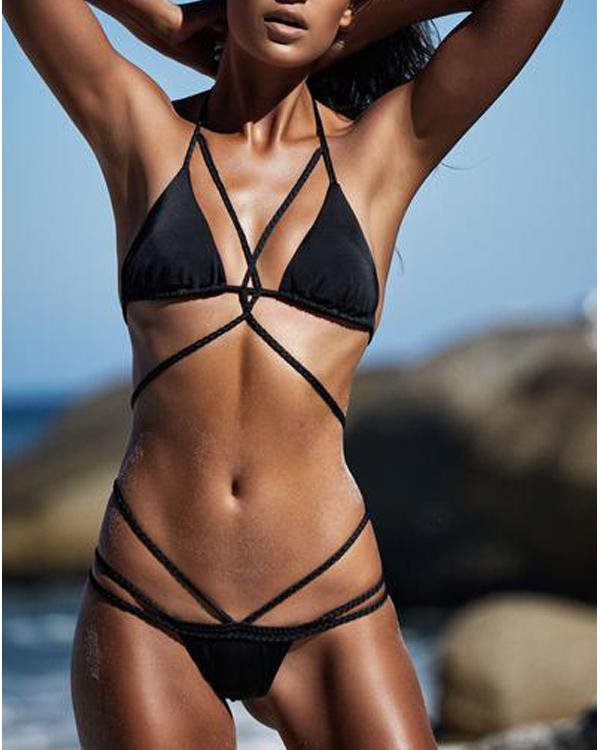Bandage Cross Tie Colorful Sexy Bikini Set