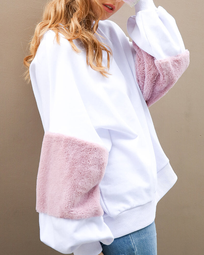 Baggy Furry Elbow Pullover Sweatshirt