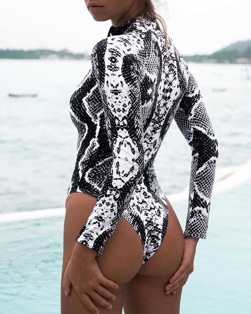Animal Pattern Zipper-front Long-sleeve Swimsuit