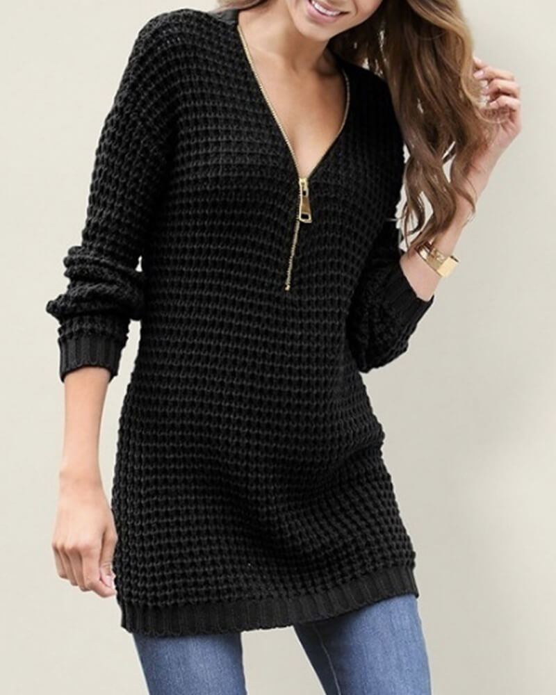 Medium Length Zipper V-neck Sweater