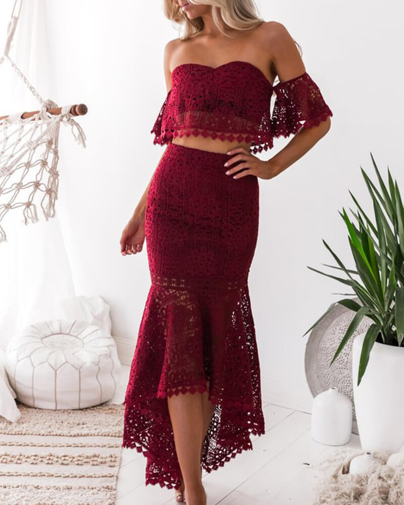 Lace Strapless Two-piece Skirt Set