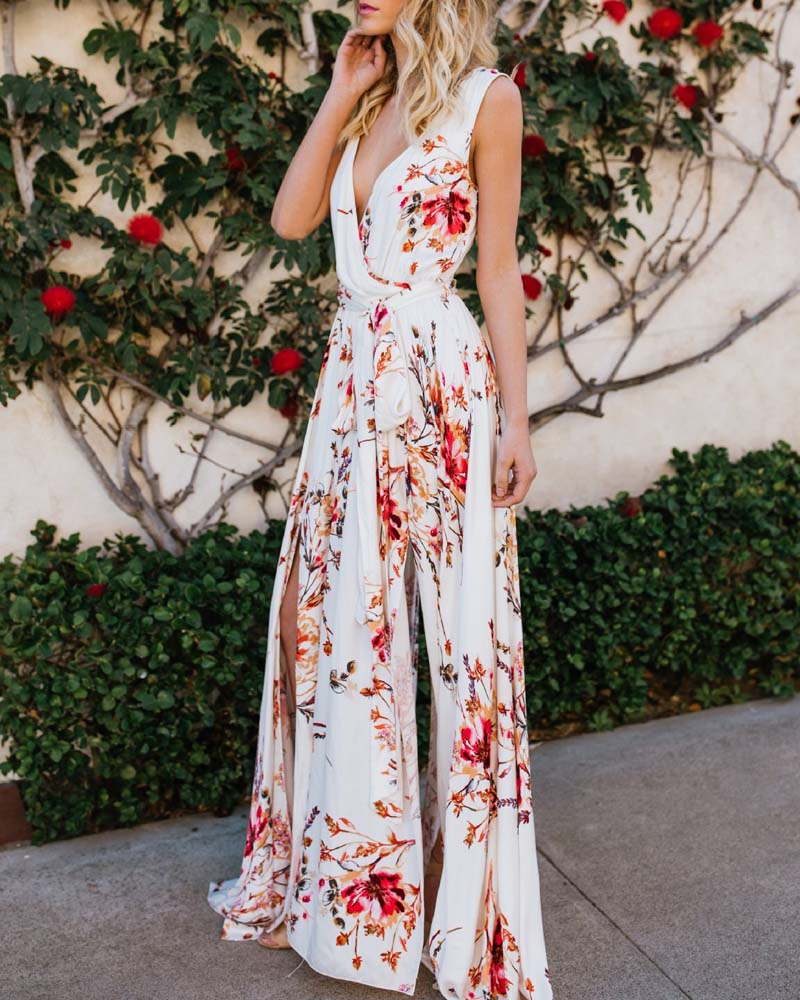 Bohemian Chiffon Deep-V Maxi Dress