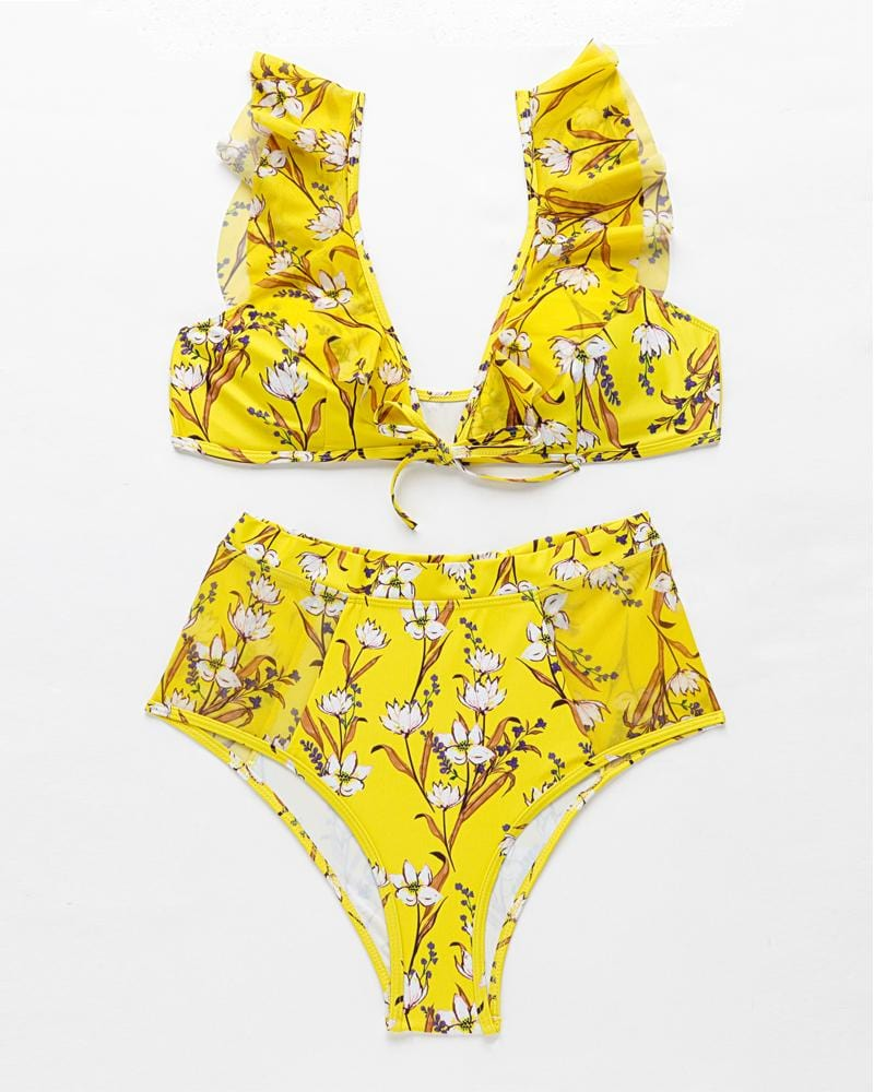 Ruffled High Waist Falabal Bikini Set