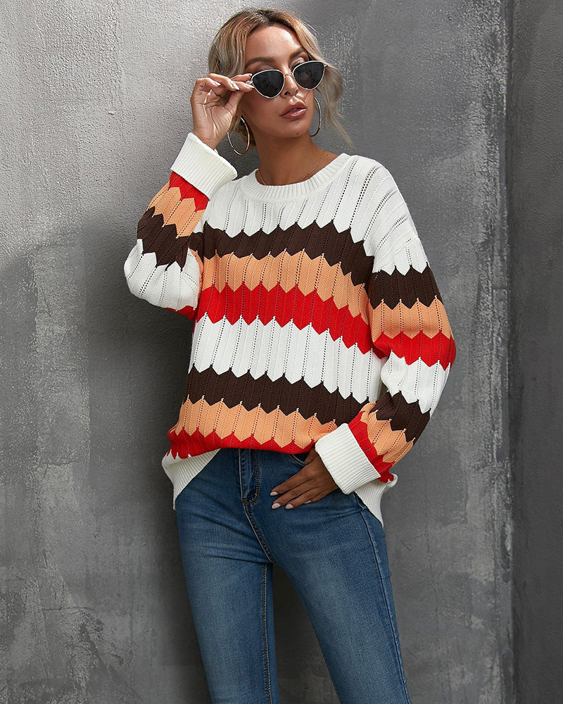 Sunygal Women Colorful Wavy Striped O-Neck Casual Knitted Sweater
