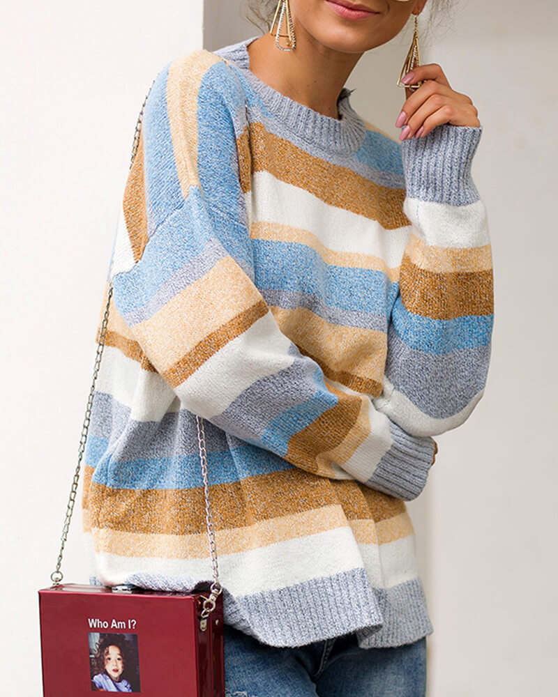 Horizontal Stripe Print Loose Sweater