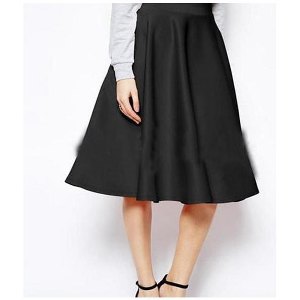 Solid A-Line Tea Length Skirt