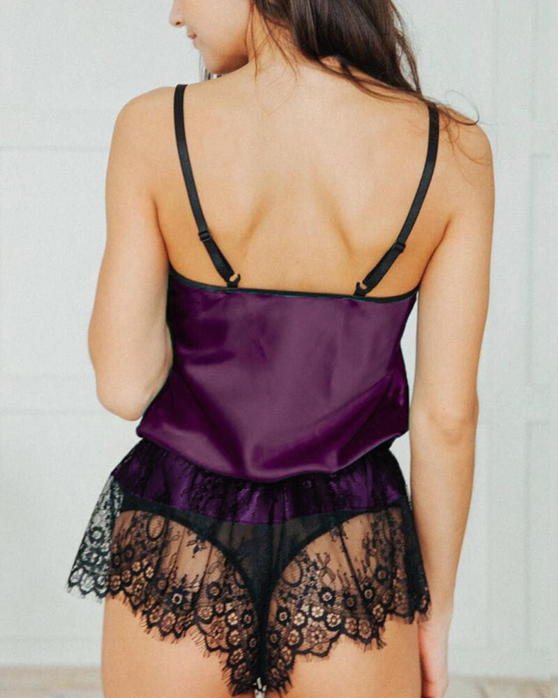 Eyelash Lace Silk Lingerie Set