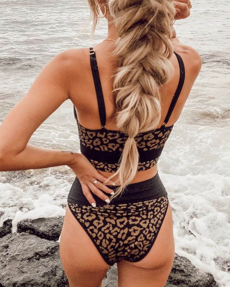 Leopard High Waisted Bikini Set