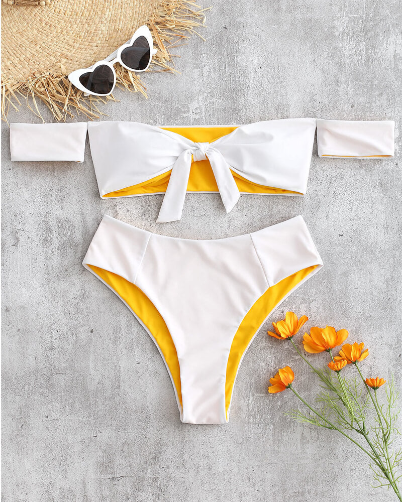 White Bowknot Off Shoulder Bikini Set