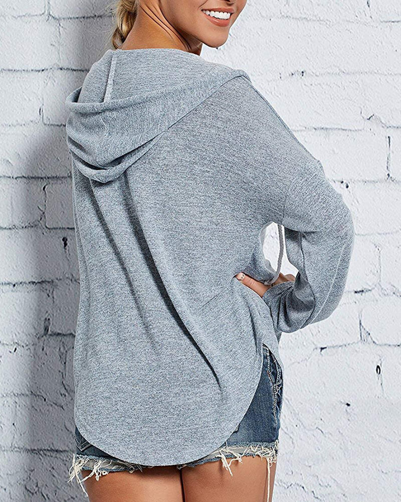 Loose Long-sleeved V-neck hooded Sweatshirt