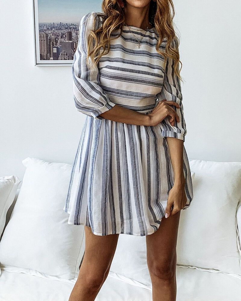 Striped Boat Neck Mini Dress