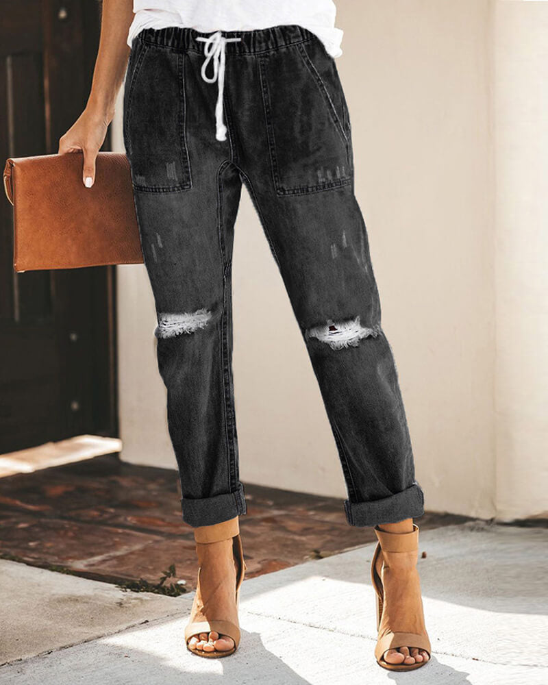 Draw String Waist Casual Style Jeans