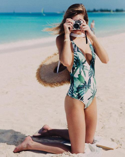 Green Leaves Young Print One-Piece Swimsuit