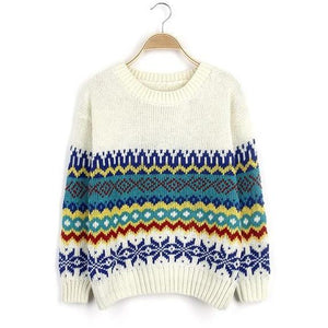 Classical Geometric Pattern Round Neck Sweater