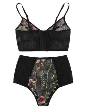 Floral Embroidered Lace Lingerie Set