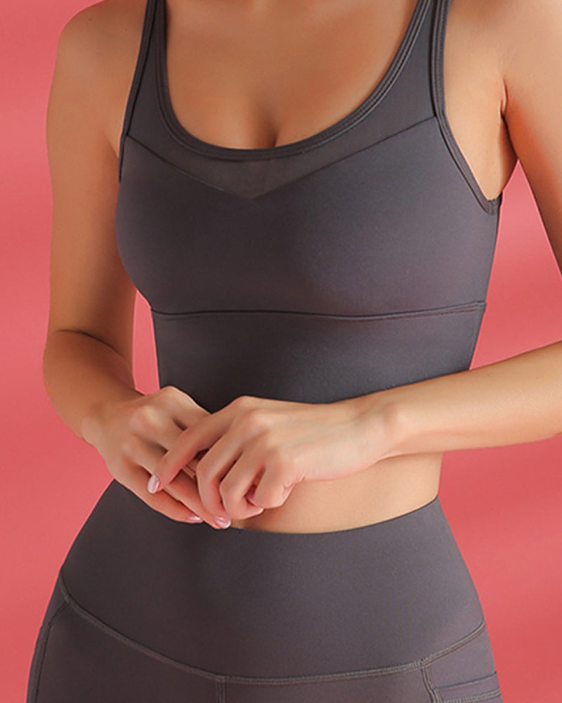 Mesh Stitching Sports  Fitness Bra