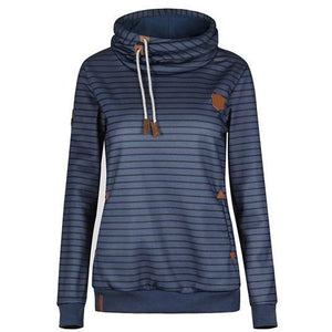 Pockets Striped Hoodie Pullover Sweatshirt