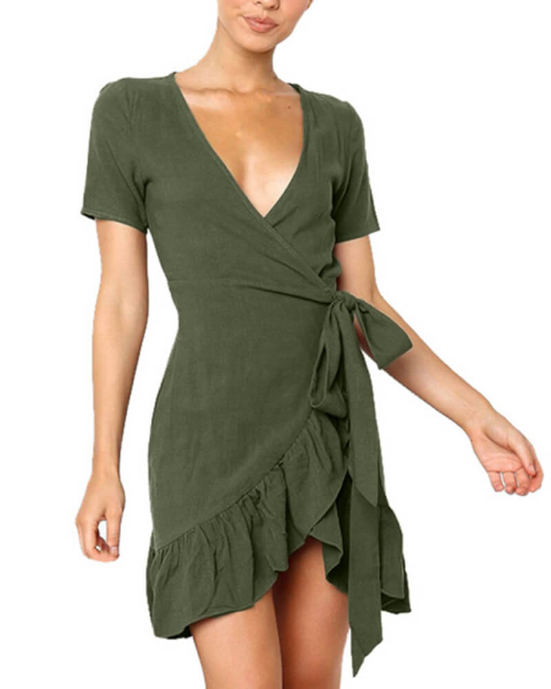 Short-Sleeved Ruffled Strap V-neck Dresses