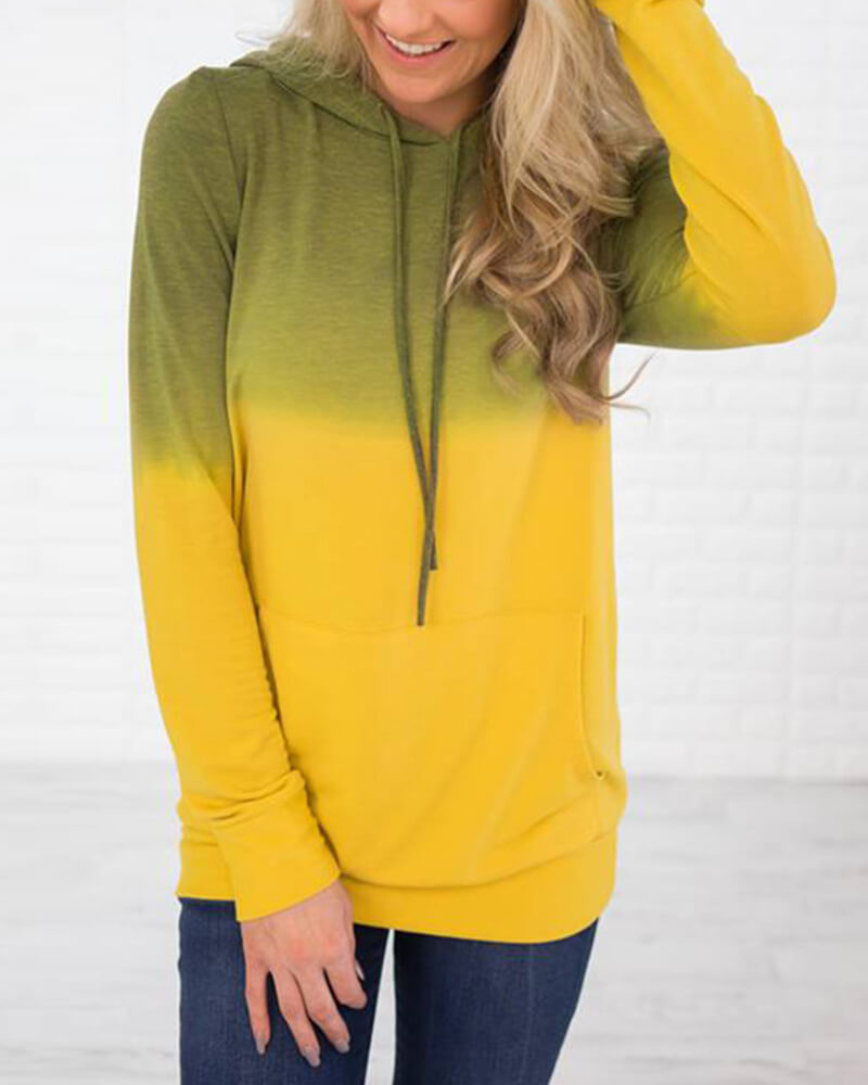 Gradient color Pocket Drawstring Sweatshirt