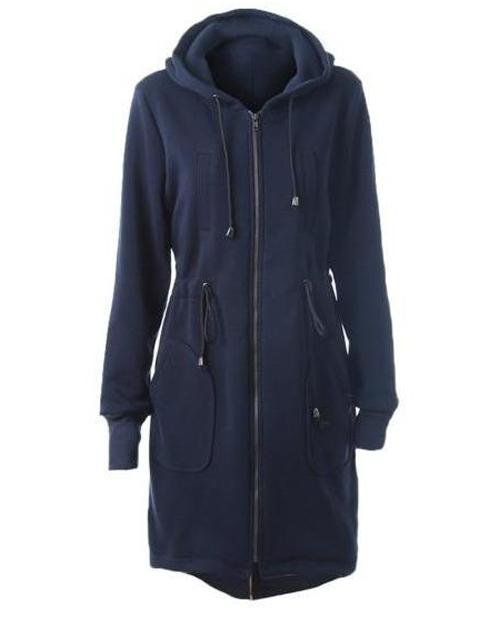 Drawstring Zipper Hoodie Solid Long Coat