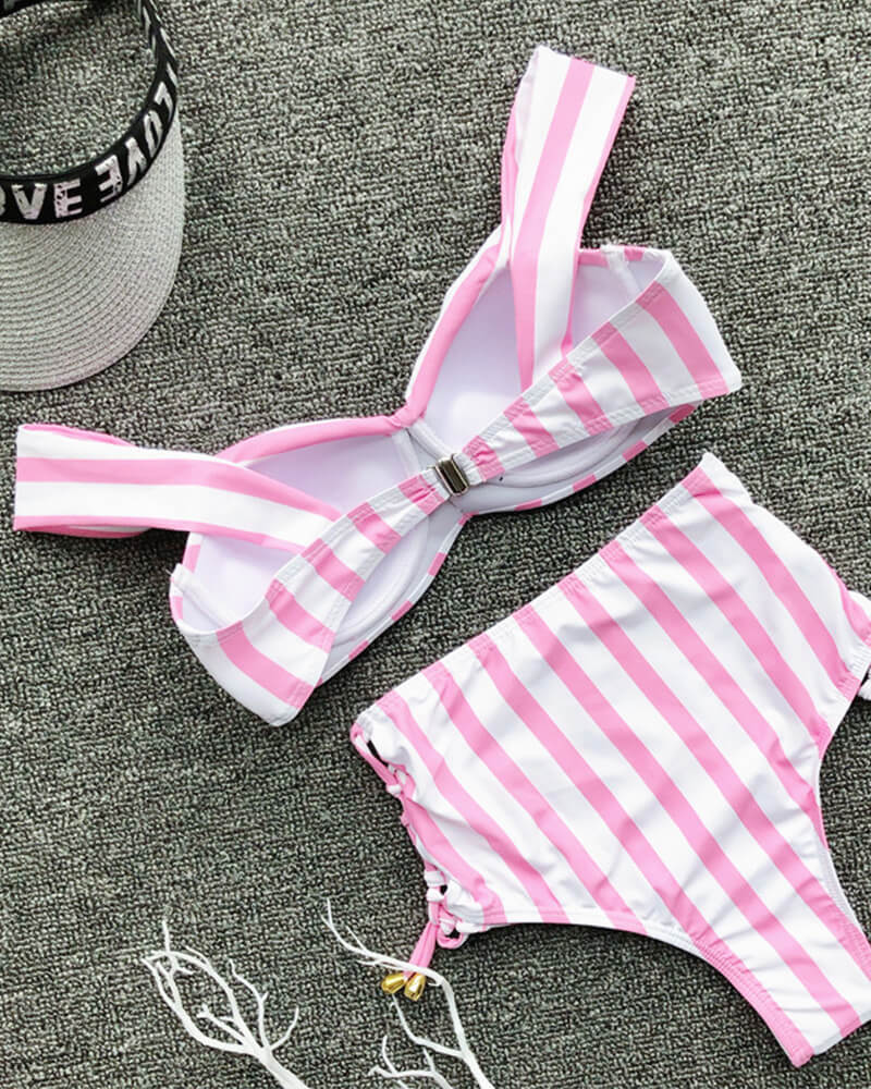 Striped Print Off Shoulde Bikini Set