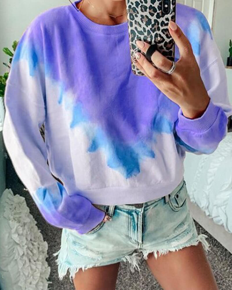 Gradient Color O-Neck  Sweatshirt