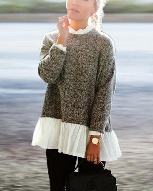 High Collar Fake Two Piece Sweater