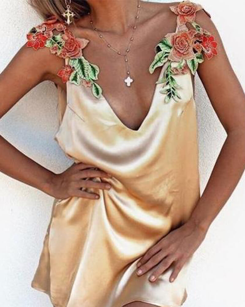 Floral Embroidered Strap Plunging Solid Silk Dress