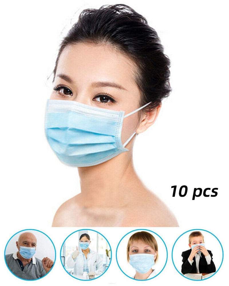 10 PCS Filter 3-ply Personal Protection Dust-proof Mask