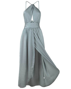 Light Blue Side Slits Backless Dress