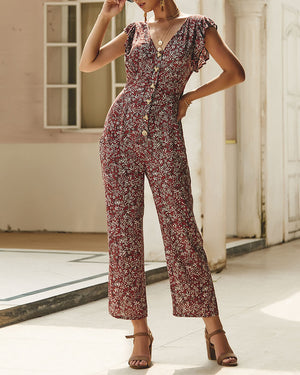 V-Neck Short Sleeve Floral Pattern Loose Romper