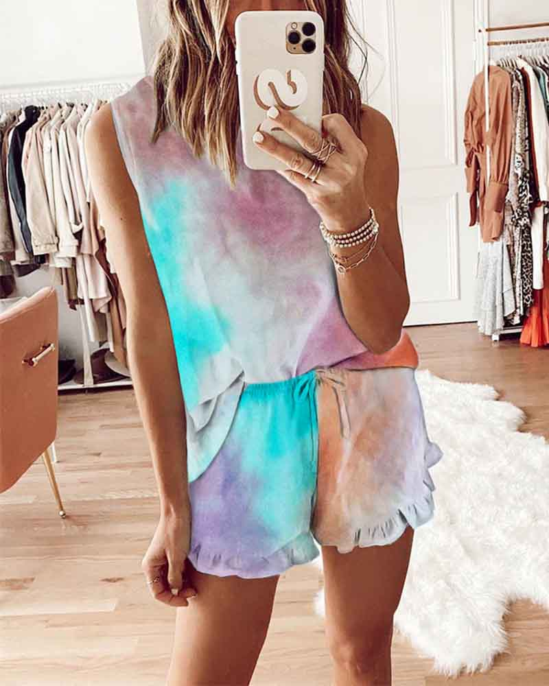 Tie-Dye Sleeveless Elastic Drawstring Shorts Suit