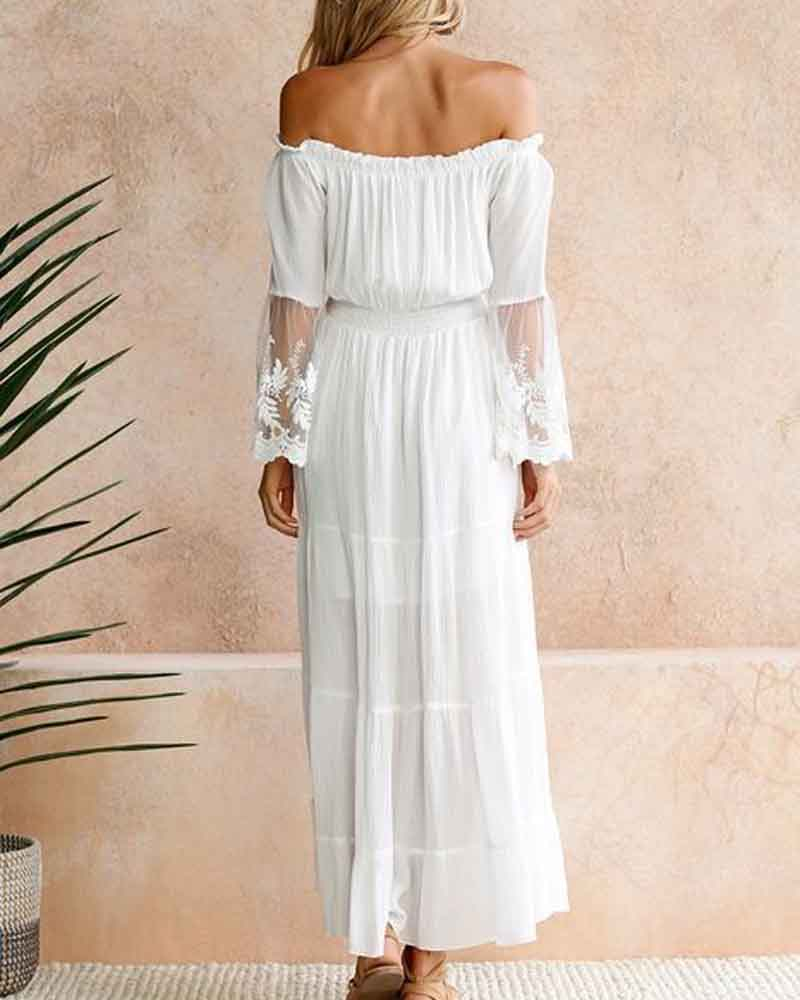 Strapless Lace Patchwork Boho Dress