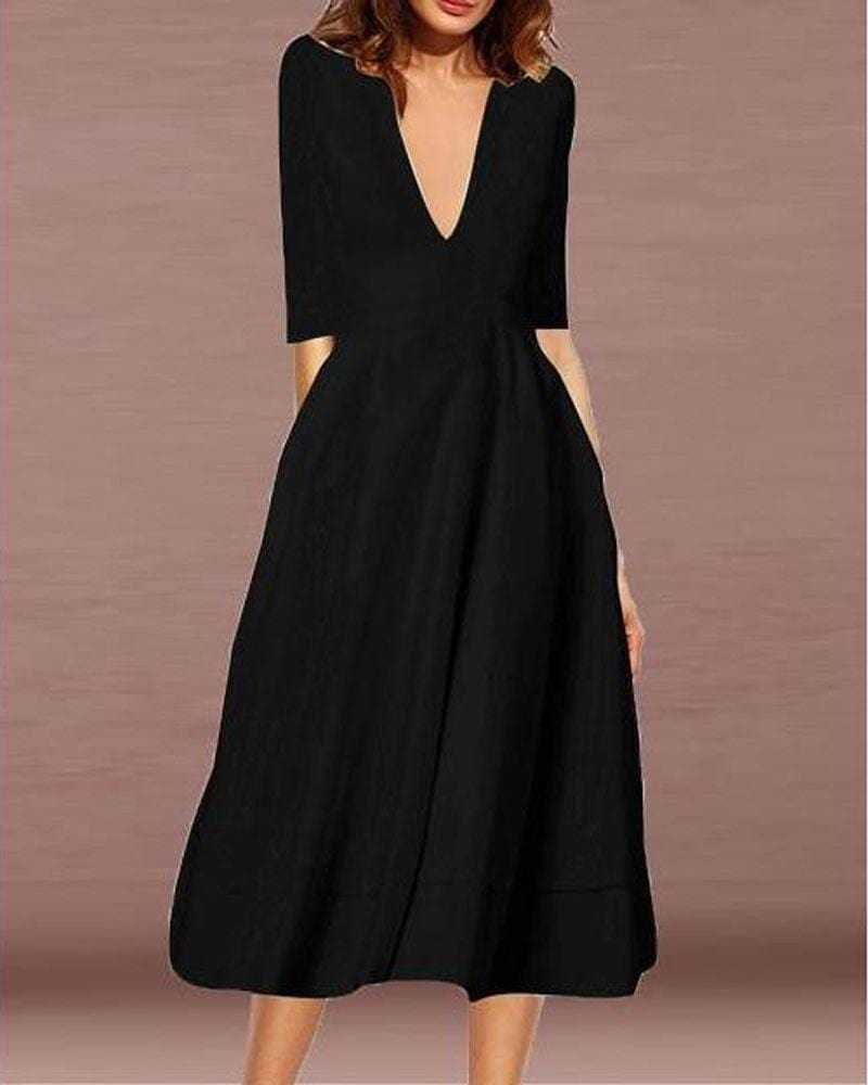 Plunging Half Sleeve Solid Dress