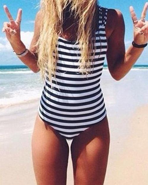 Happiness Stripe One-piece Swimsuit
