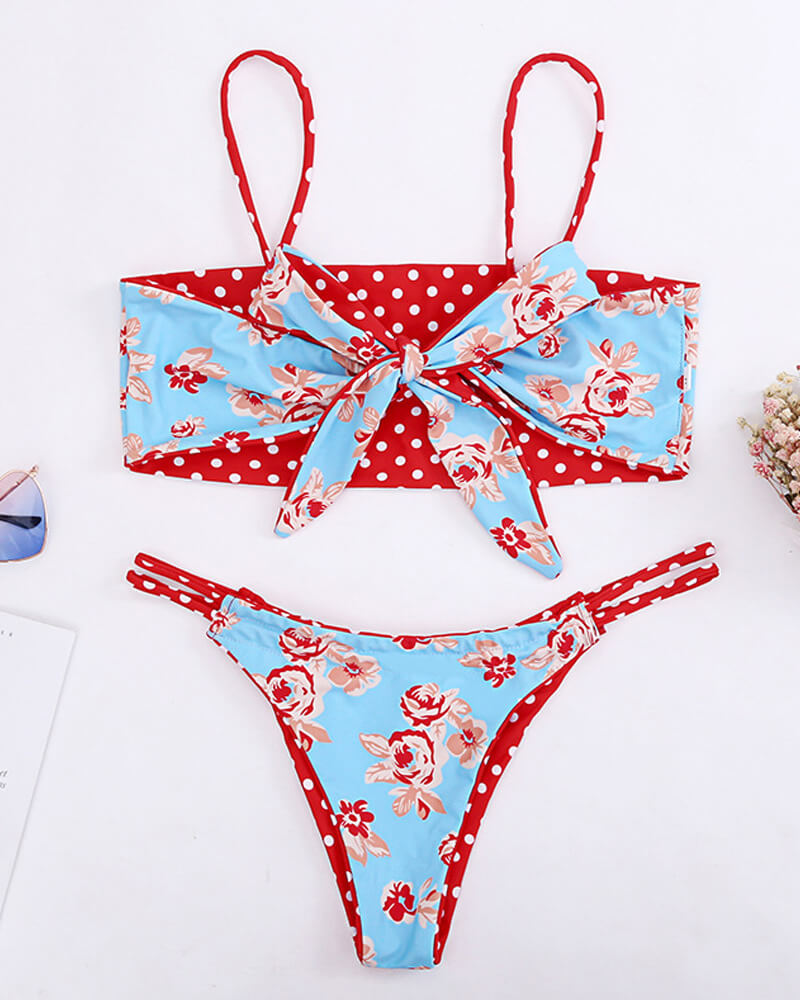 Red Dot Knotted Reversible Swimwear