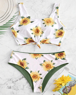 Sunflower Knotted Reversible Swimsuit