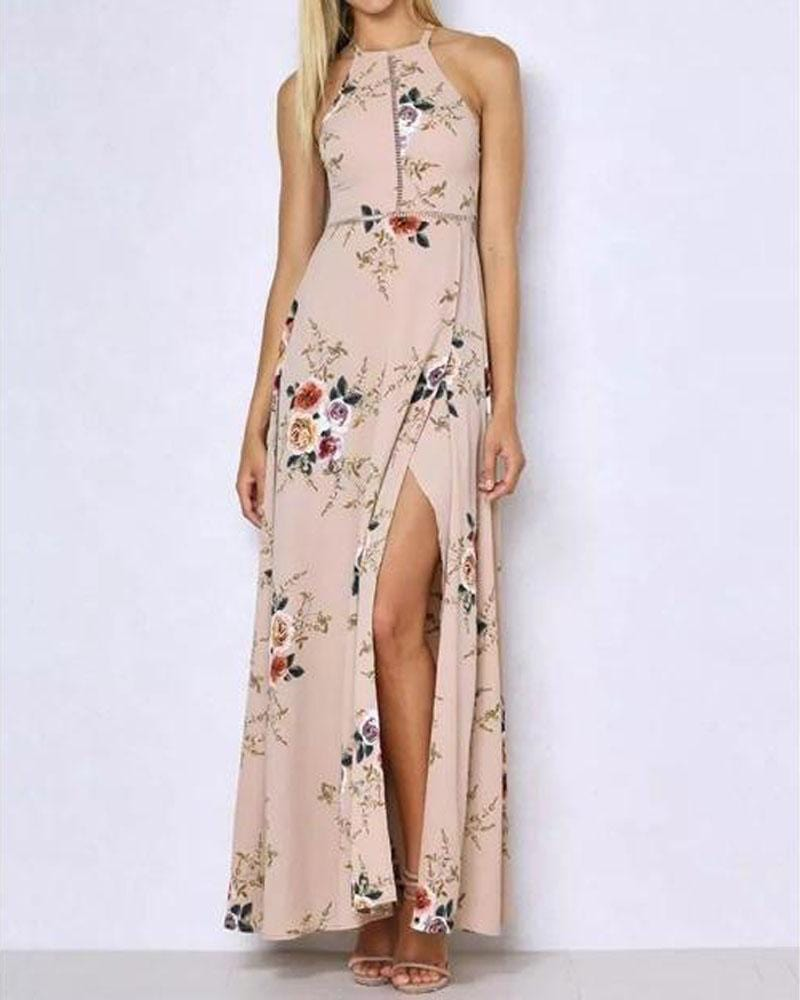 Bright Precious Floral Halter Dress