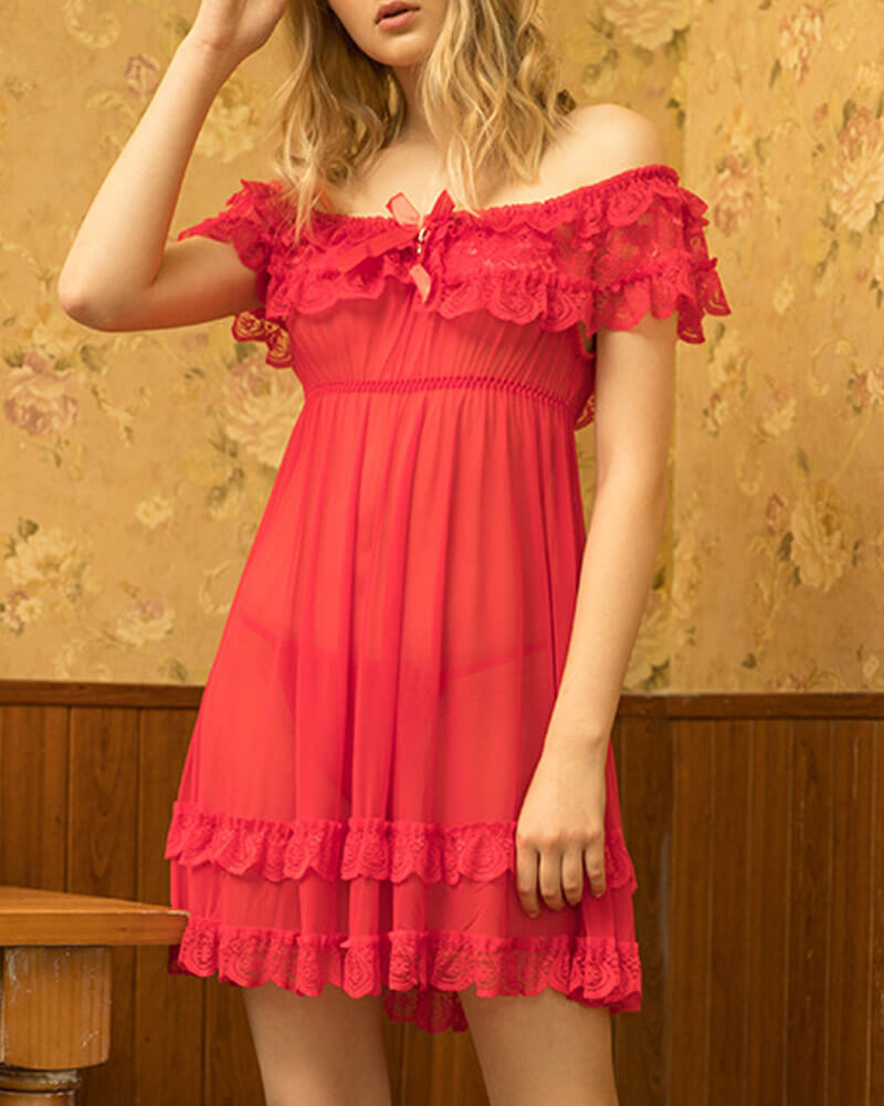 Strapless Lace See-through Nightgown