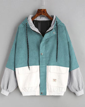 Sunygal Color Block  Corduroy Jacket