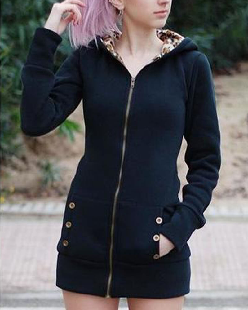 Solid Leopard Inner Zip Hooded Outwear