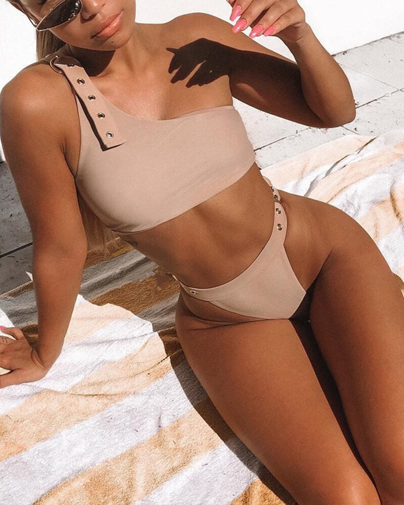 One Shoulder Metallic Decoration Bikini Set