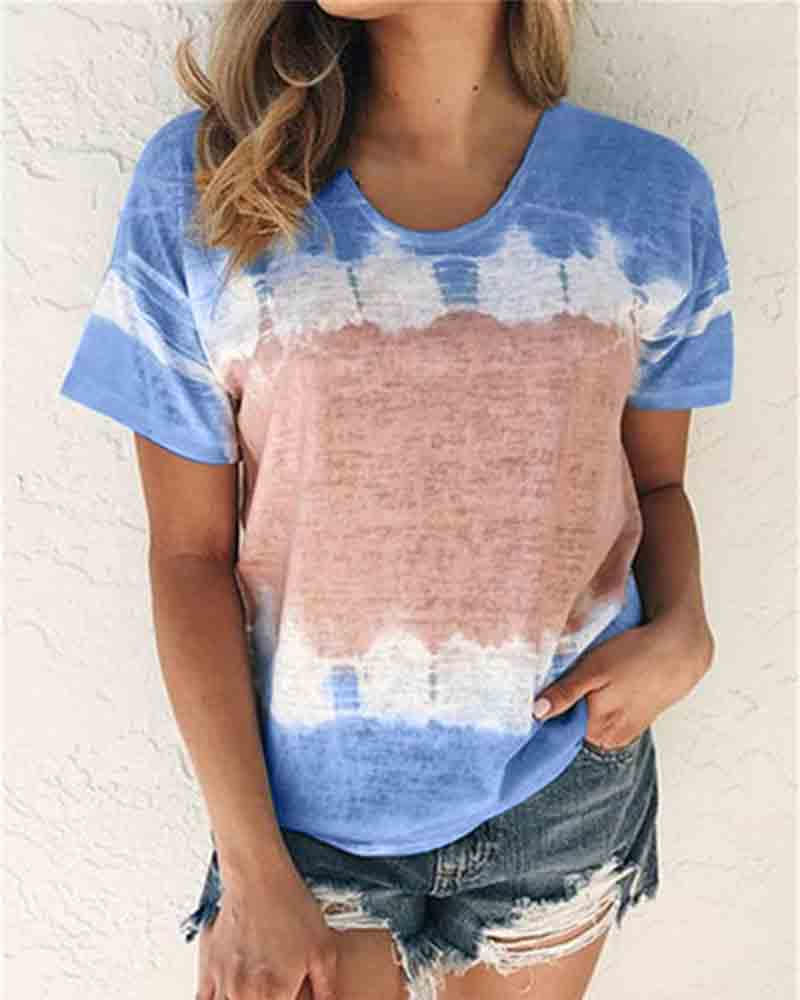 Gradient Printed Blouse Short Top