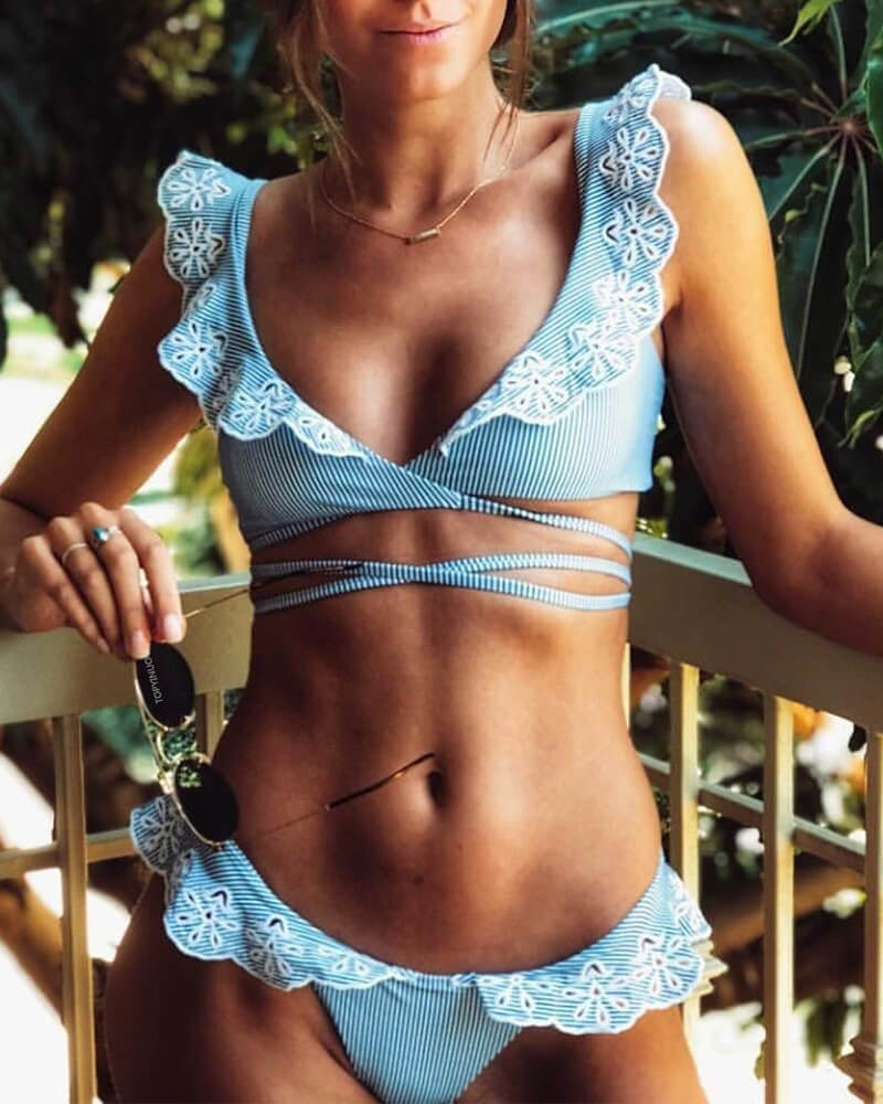 Blue Ocean Lace Ruffled Bikini Set