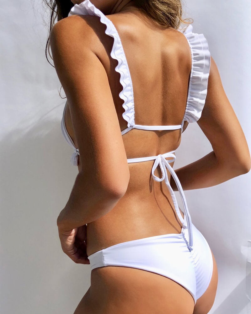 Ruffles Cross Back Bikini Set