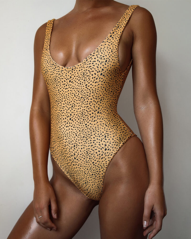 Mini Leopard Print One-Piece Swimsuit