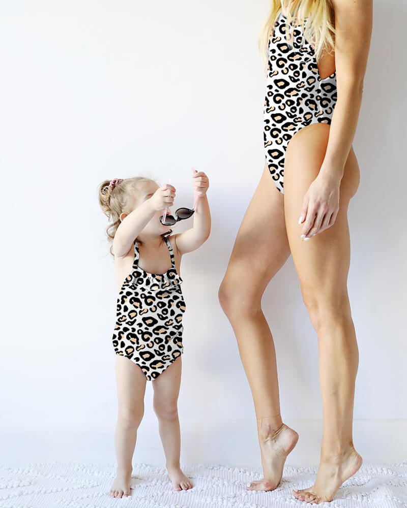 Leopard Print One-Pieces Matching Bikini