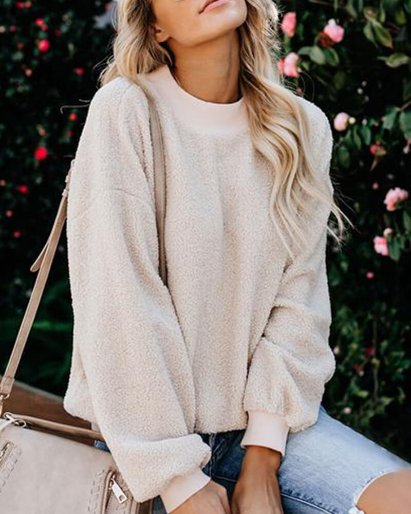 Shoulder Sleeve Pure Color Sweatshirt