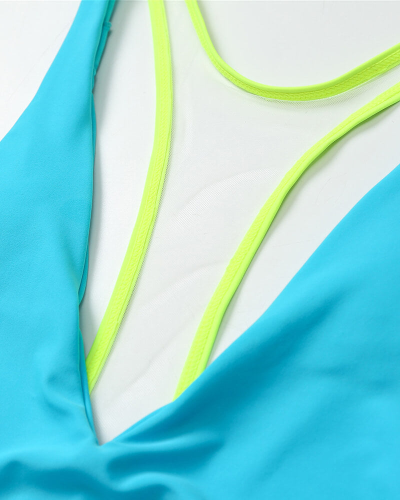 Mint Green V-neck One Piece Swimsuit